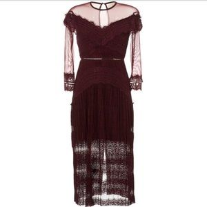 ISO Three Floor burgundy lace dress